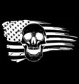 silhouette draw skull and flag usa vector image vector image