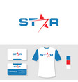 star logo design with business card and t shirt vector image vector image