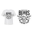 t-shirt print american bears baseball sport team vector image vector image