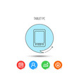 tablet pc icon touchscreen pad sign vector image