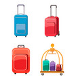 travel bag icon set cartoon style vector image