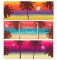 Travel Banner with Palm Trees Exotic landscape