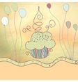 Vintage card with cupcake EPS8 vector image