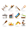 woodworking industry and woodworking tools icons vector image vector image