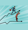 businessmen running chart growth and look forward vector image