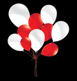 Red and white balloons isolated on black vector image