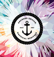 Abstract colorful anchor navy nautical theme vector image