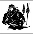 attacking pirate - black and white vector image vector image