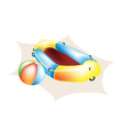 Beach Ball and Inflatable Boat vector image