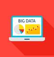 big data laptop flat icon vector image