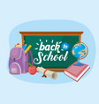 blackboard with backpack and book with apple fruit vector image