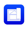 building plan icon digital blue vector image