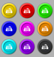 Buildings icon sign symbol on nine round colourful vector image vector image