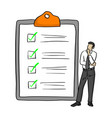 businessman standing near big complete checklist vector image
