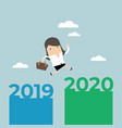 businesswoman jump from 2019 to 2020 vector image vector image