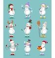 cartoon snowman set vector image