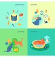 Cat 4 flat icons square composition vector image vector image