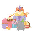 cat and fox in happy birthday celebration vector image vector image
