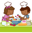 children cooking in kitchen at home vector image vector image