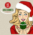 christmas discount banner with sexy blonde santa vector image vector image