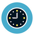 clock icon on round blue background vector image vector image