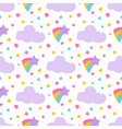 cute pattern with stars clouds vector image