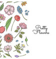 hand drawn flowers background banner vector image