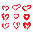 hand drawn hearts design elements for valentines vector image