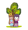 happy girl and boy with funny costumes and tree vector image