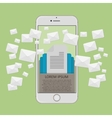 Many envelopes messages in smartphone screen vector image vector image
