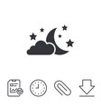 moon clouds and stars sign icon dreams symbol vector image vector image