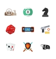 nine flat game icons vector image vector image