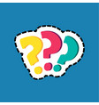 Question marks dash lines flat color sticker