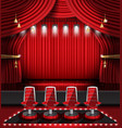 red stage curtain with spotlights and four chairs vector image vector image