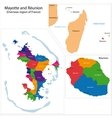 Reunion and Mayotte map vector image vector image