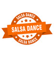 salsa dance ribbon salsa dance round orange sign vector image vector image