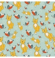Seamless pattern with romantic kitty and birds vector image vector image