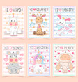 set animals - crtoon a4 template vector image