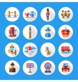 Set of flat design England travel icons vector image