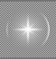 shining star with a glare white color vector image vector image