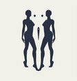 silhouettes of two women vector image
