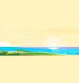 sunset on beach flat panorama vector image