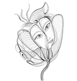Surreal hand drawing flower with female face vector image vector image