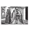 the visitation - mary visits elizabeth vintage vector image vector image