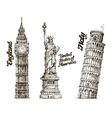 Travel Hand drawn sketch England USA Italy vector image vector image