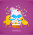 two nestlings untie the tape on the easter egg vector image vector image