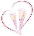 Two wedding champagne glass in heart shape vector image vector image