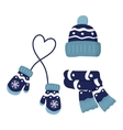 winter knitted mittens hat and scar set in blue vector image vector image