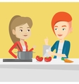 Women cooking healthy vegetable meal vector image