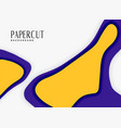 abstract papercut background in purple and yellow vector image vector image